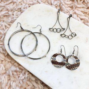 Vintage Lot of Three (3) Pairs of Silver Earrings